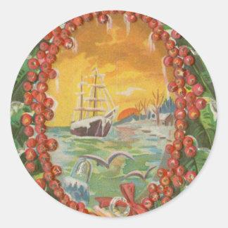 Vintage Christmas Sailboat Wreath Round Sticker