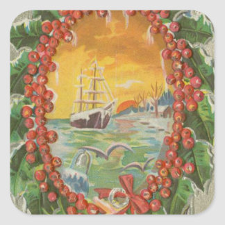 Vintage Christmas Sailboat Wreath Square Stickers