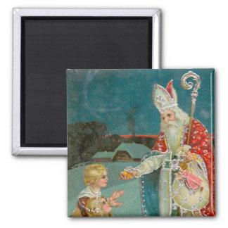 Vintage Christmas Saint Nicholas 2 Inch Square Magnet