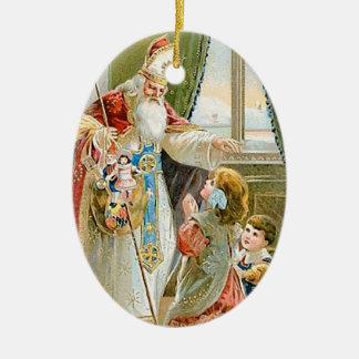 Vintage Christmas Saint Nicholas Ceramic Ornament