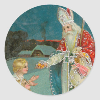 Vintage Christmas Saint Nicholas Fine Art Classic Round Sticker