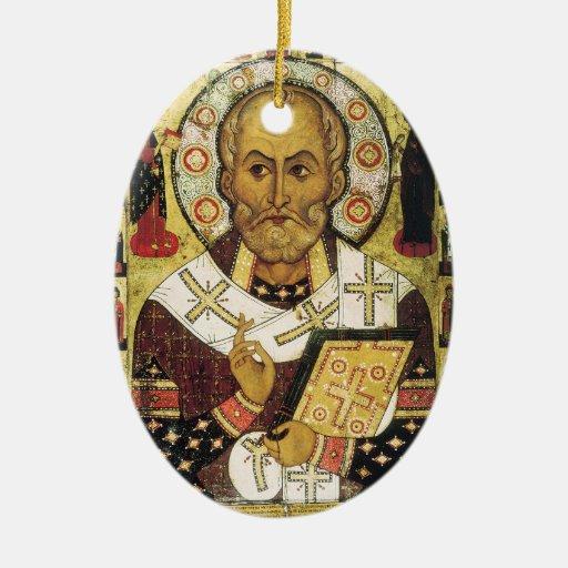 Vintage Christmas Saint Nicholas Santa Double-Sided Oval Ceramic Christmas Ornament