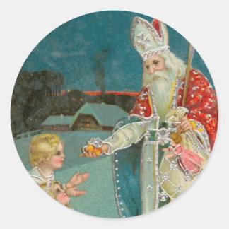 Vintage Christmas Saint Nicholas Round Stickers