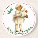 Vintage Christmas Sandstone Coasters