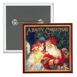 Vintage Christmas Santa and Angel Pinback Button