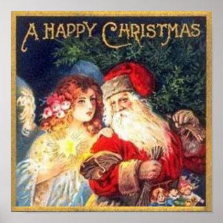 Vintage Christmas Santa and Angel Print