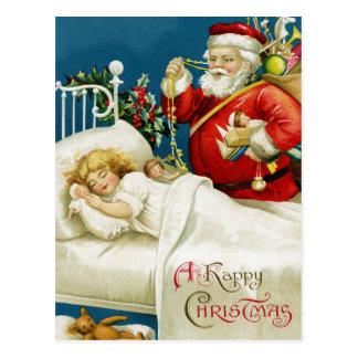 Vintage Christmas Santa and Child Holiday postcard