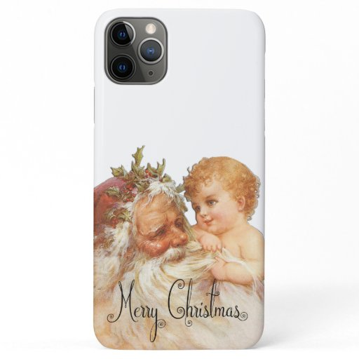 Vintage Christmas Santa And Cute Baby iPhone 11 Pro Max Case
