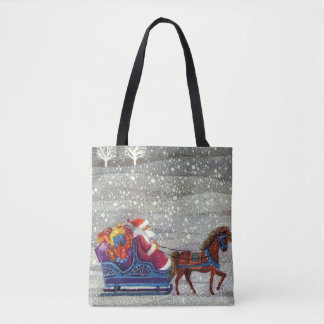 Vintage Christmas, Santa and One Horse Open Sleigh Tote Bag