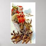 Vintage Christmas Santa and Reindeer Sleigh Print