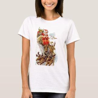 Vintage Christmas Santa and Reindeer Sleigh T-Shirt