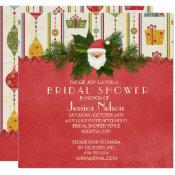 Vintage Christmas Santa Bridal Shower Invitation