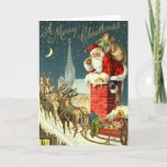 """Vintage Christmas Santa Card<br><div class=""""desc"""">Let this vintage (antique atually actually Santa Christmas card send your wishes to your family and friends at holiday time (see matching vintage Christmas postage stamp here) or letters. This busy was scanned from 1906 postcard addressed to Richard Clark.</div>"""