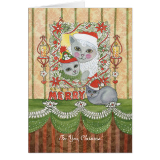 Vintage Christmas Santa Cat with Kitten Greeting Cards