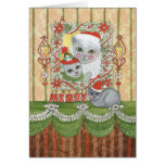 Vintage Christmas Santa Cat with Kitten Card