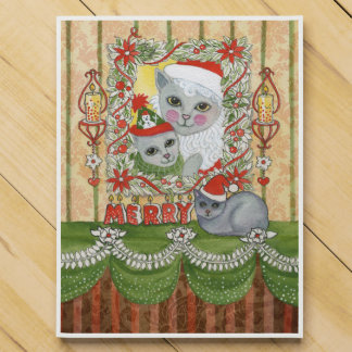 Vintage Christmas Santa Cat with Kitten Countdown Calendar