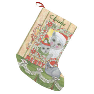 Vintage Christmas Santa Cat with Kitten Small Christmas Stocking