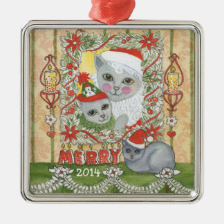 Vintage Christmas Santa Cat with Kitten Christmas Ornament