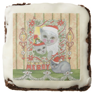 Vintage Christmas Santa Cat with Kitten Square Brownie