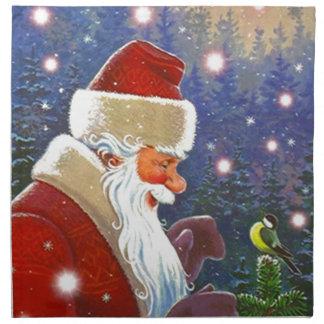 Vintage Christmas Santa Chickadee Bird Top Napkins
