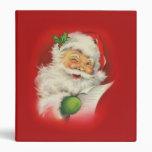 Vintage Christmas Santa Claus 3 Ring Binders