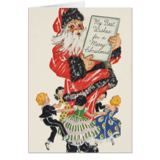 Vintage Christmas Santa Claus and Children Dance Card