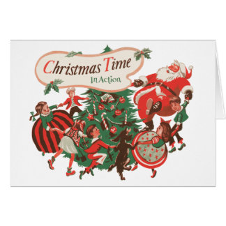 Vintage Christmas Santa Claus and Dancing Children Card
