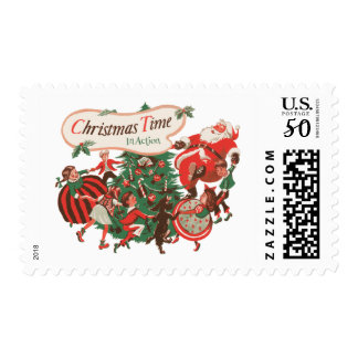 Vintage Christmas Santa Claus and Dancing Children Postage