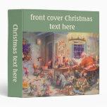Vintage Christmas, Santa Claus and Elves Workshop Vinyl Binder