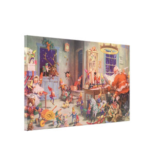 Vintage Christmas, Santa Claus and Elves Workshop Gallery Wrap Canvas