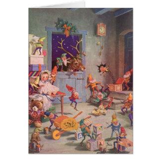 Vintage Christmas Santa Claus and Elves Workshop Greeting Card