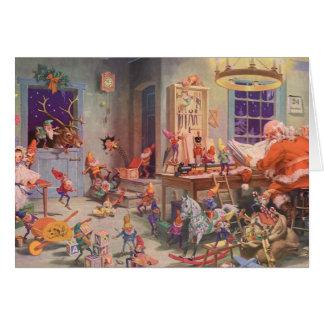 Vintage Christmas Santa Claus and Elves Workshop Card