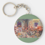 Vintage Christmas, Santa Claus and Elves Workshop Key Chains