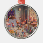 Vintage Christmas, Santa Claus and Elves Workshop Christmas Tree Ornaments