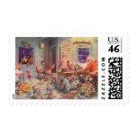 Vintage Christmas, Santa Claus and Elves Workshop Postage Stamps