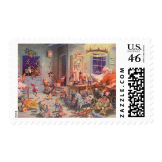 Vintage Christmas Santa Claus and Elves Workshop Postage Stamps