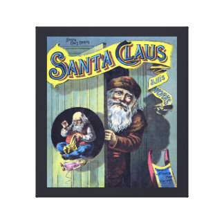 Vintage Christmas Santa Claus and His Works Gallery Wrap Canvas