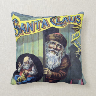 Vintage Christmas Santa Claus and His Works Throw Pillows