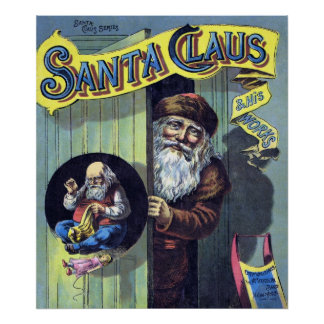 Vintage Christmas Santa Claus and His Works Print