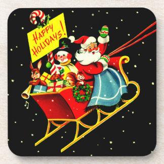 Vintage Christmas Santa Claus and Sleigh Coasters