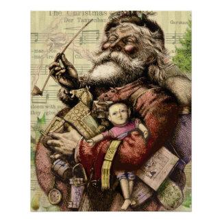 Vintage Christmas Santa Claus Art Print