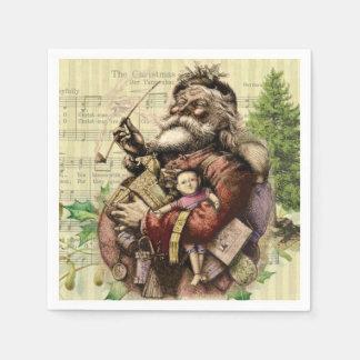 Vintage Christmas Santa Claus Art Print Paper Napkin