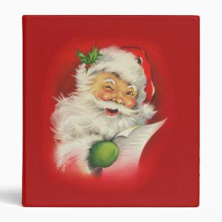 Vintage Christmas Santa Claus 3 Ring Binder