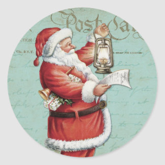 Vintage Christmas Santa Claus Blue Antique Holiday Classic Round Sticker