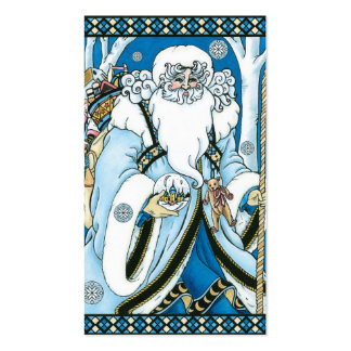 Vintage Christmas, Santa Claus Blue Snowglobe Double-Sided Standard Business Cards (Pack Of 100)