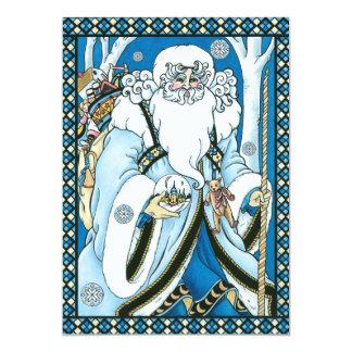 Vintage Christmas, Santa Claus Blue Snowglobe Personalized Invites