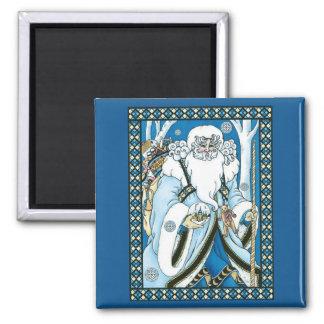 Vintage Christmas, Santa Claus Blue Snowglobe Magnet