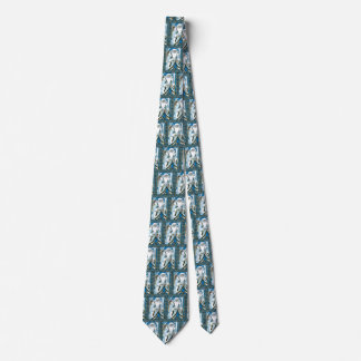 Vintage Christmas, Santa Claus Blue Snowglobe Tie
