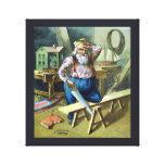 Vintage Christmas, Santa Claus Building Toys Stretched Canvas Print