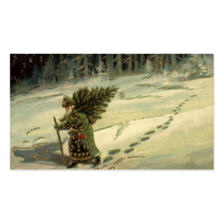 Vintage Christmas, Santa Claus Carrying a Tree Business Card